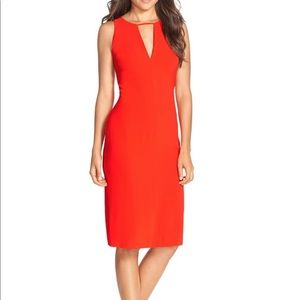 Red orange midi sheath dress.